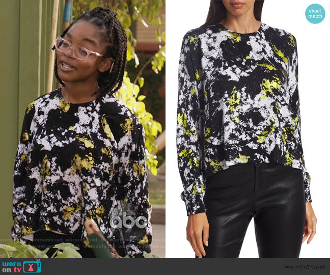 Quintin Printed Pullover by Alice + Olivia worn by Diane Johnson (Marsai Martin) on Blackish