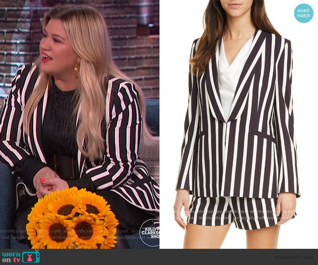 Skye Stripe Strong Shoulder Blazer by Alice + Olivia worn by Kelly Clarkson  on The Kelly Clarkson Show