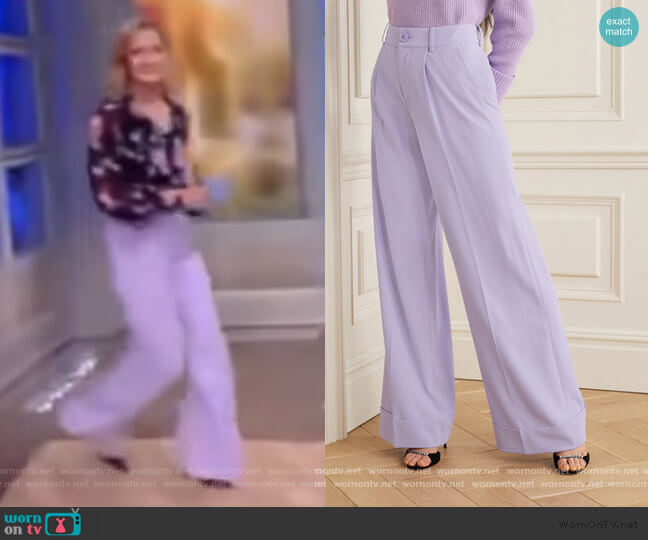 Tomasa crepe wide-leg pants by Alice + Olivia worn by Sara Haines  on The View