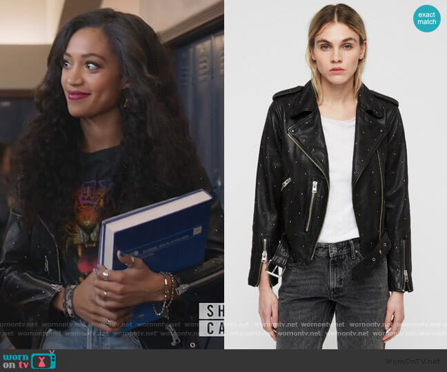 Balfern Studded Leather Biker Jacket by All Saints worn by Olivia Baker (Samantha Logan) on All American