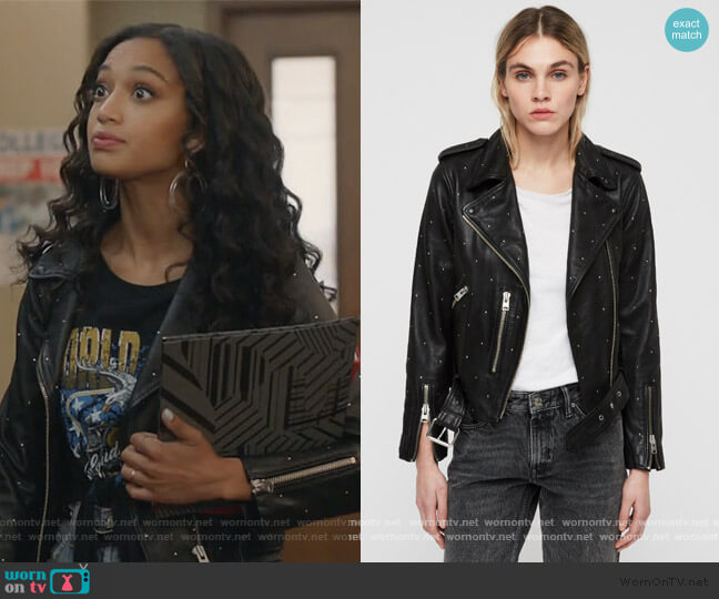Balfern Studded Leather Biker Jacket by All Saints worn by Olivia Baker (Samantha Logan) on All American