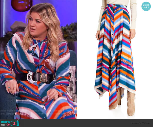 Aquarius Striped Silk Skirt by Altuzarra worn by Kelly Clarkson  on The Kelly Clarkson Show