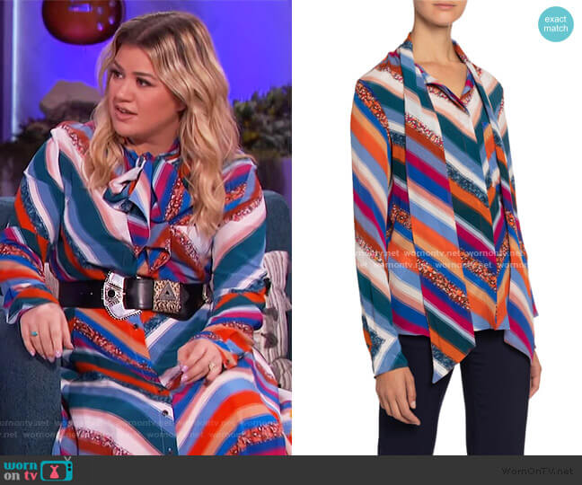 Newberry Chevron-Striped Chiffon Tie-Neck Blouse by Altuzarra worn by Kelly Clarkson  on The Kelly Clarkson Show
