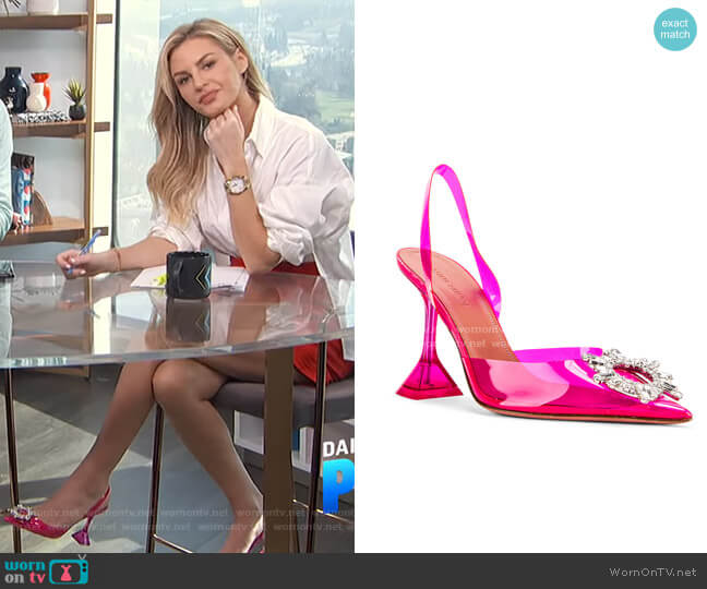 Begum Glass Heel by Amina Muaddi worn by Morgan Stewart  on E! News
