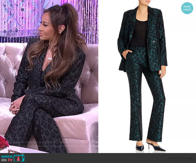 Madeleine Double-Breasted Jacquard Blazer and Pants by Anine Bing worn by Adrienne Houghton  on The Real