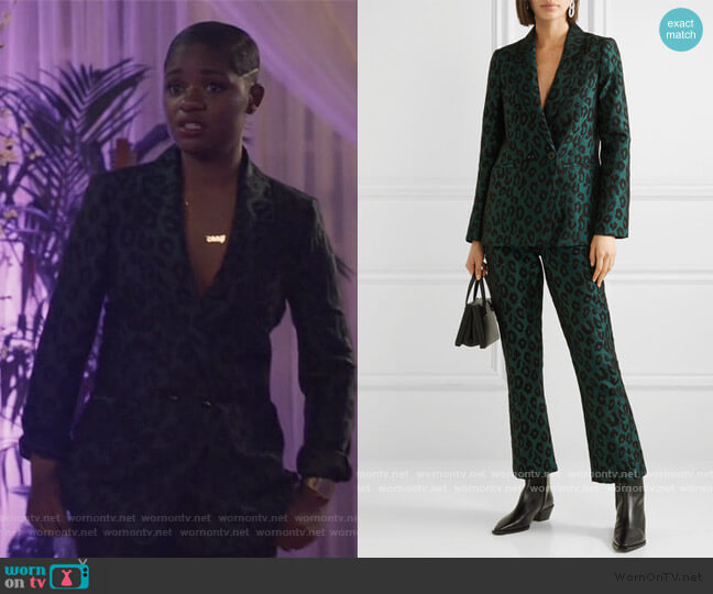 Madeleine Emerald Leopard Jacquard Blazer and Pants by Anine Bing worn by Tamia Cooper (Bre Z) on All American