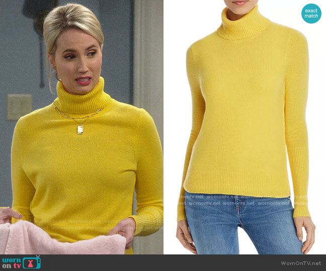 Aqua Cashmere Turtleneck Sweater in Dandelion worn by Mandy Baxter (Molly McCook) on Last Man Standing
