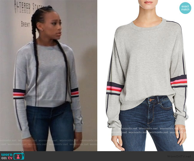 Striped-Sleeve Sweater by Aqua worn by Trina (Sydney Mikayla) on General Hospital