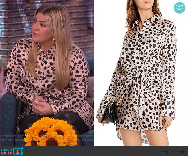Tie-Front Cheetah Print Dress by Aqua worn by Kelly Clarkson  on The Kelly Clarkson Show