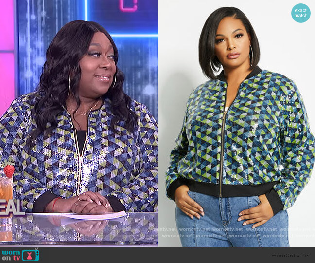 Sequin Bomber Jacket by Ashley Stewart worn by Loni Love  on The Real