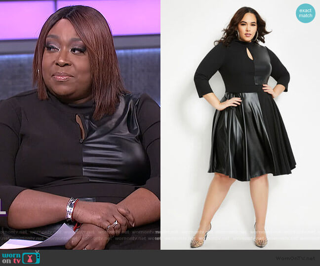 Faux Leather Keyhole Flare Dress by Ashley Stewart worn by Loni Love  on The Real