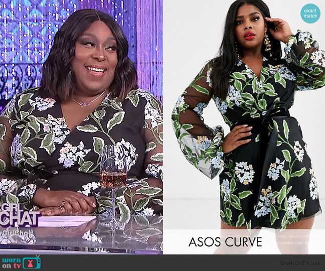 Embroidered Wrap Mini Dress by ASOS worn by Loni Love  on The Real
