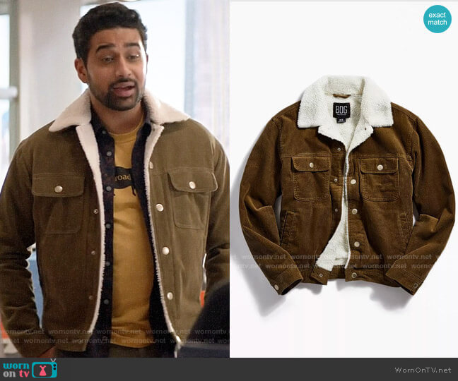 BDG Corduroy Sherpa Trucker Jacket worn by Rakesh (Suraj Sharma) on God Friended Me