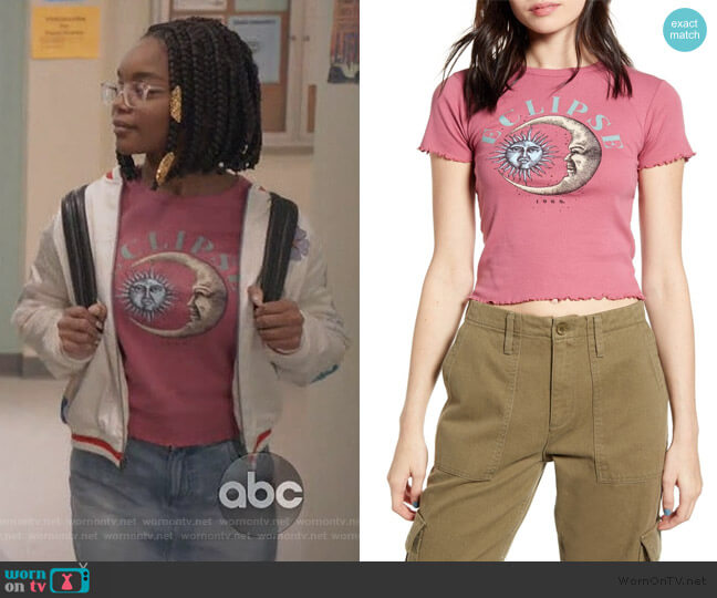 Eclipse Lettuce Edge Tee by BDG worn by Diane Johnson (Marsai Martin) on Blackish