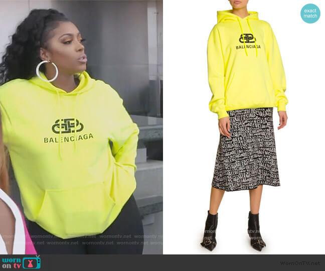 Logo-Graphic Cotton Hoodie by Balenciaga worn by Porsha Williams  on The Real Housewives of Atlanta