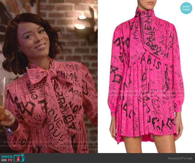 Pleated Graffiti Logo Dress by Balenciaga worn by Tiana Brown (Serayah McNeill) on Empire