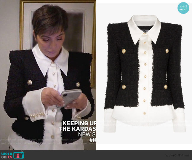 Tweed And Satin Buttoned Jacket by Balmain worn by Kris Jenner  on Keeping Up with the Kardashians