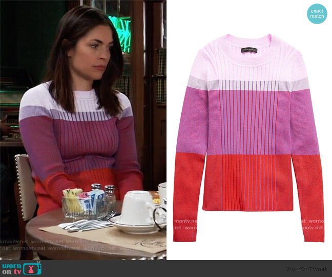 Color-Blocked Sweater Top by Banana Republic worn by Britt Westbourne (Kelly Thiebaud) on General Hospital