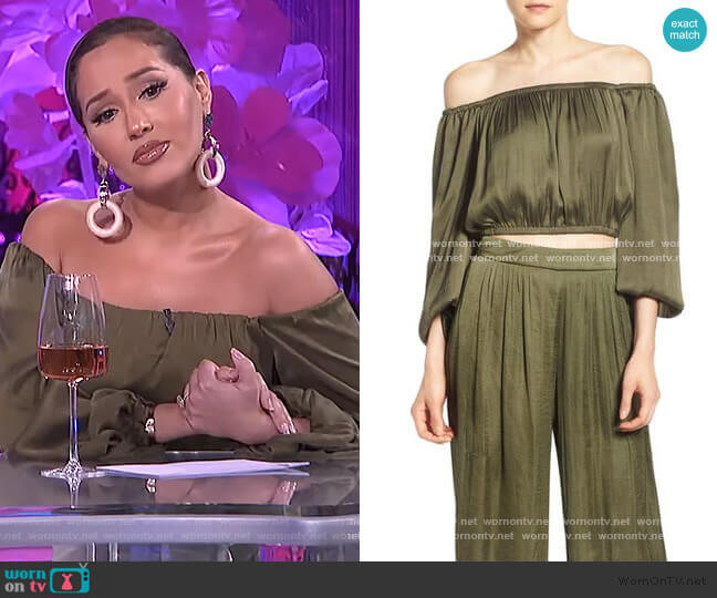 Olive Off-Shoulder Crop Top by Bardot worn by Adrienne Houghton  on The Real