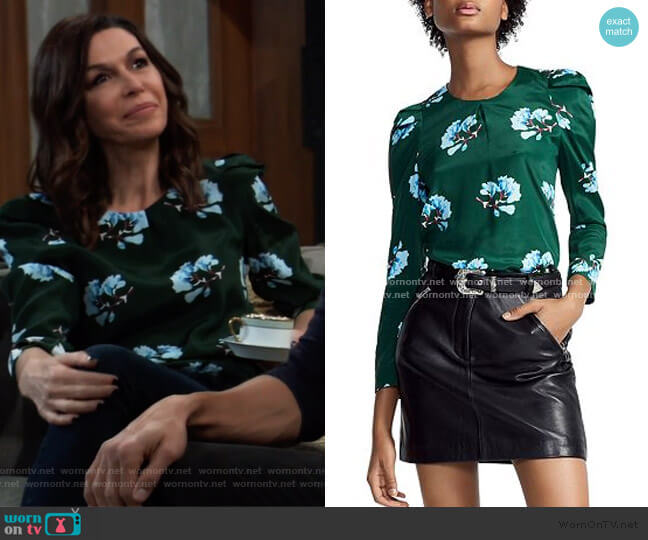 Lukoise Floral Pleated Shoulder Top by Maje worn by Anna Devane (Finola Hughes) on General Hospital