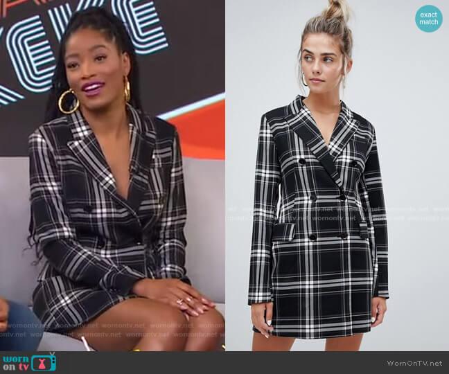 Check Print Blazer Dress by Bershka worn by Keke Palmer  on Good Morning America