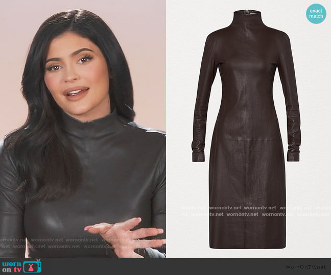 Turtleneck Stretch Leather Midi Dress by Bottega Veneta worn by Kylie Jenner  on Keeping Up with the Kardashians