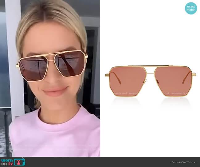 Hexagonal Aviator Metal Sunglasses by Bottega Veneta worn by Morgan Stewart  on E! News