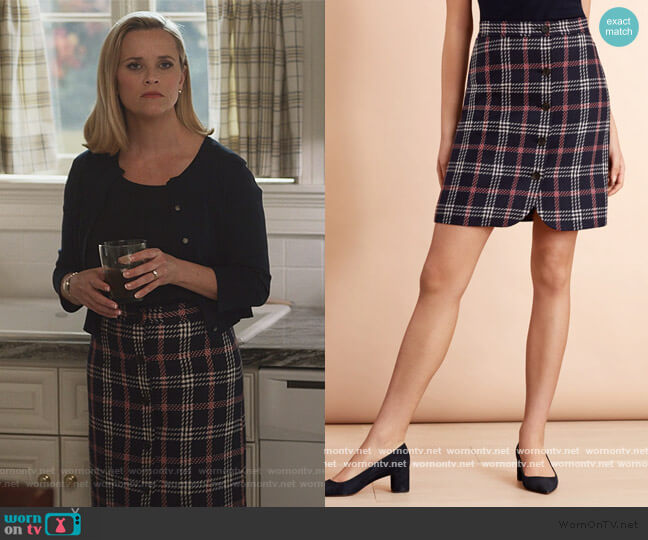 Plaid Wool-Blend Button-Front Skirt by Brooks Brothers worn by Elena Richardson (Reese Witherspoon) on Little Fires Everywhere