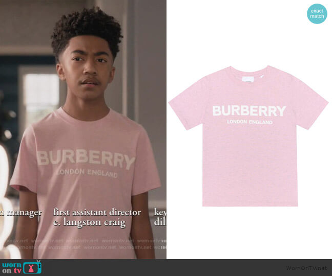 Logo cotton T-shirt by Burberry worn by Jack Johnson (Miles Brown) on Blackish