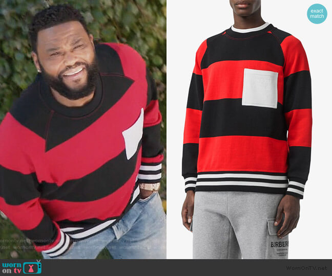 Rugby Stripe Cotton Sweatshirt by Burberry worn by Andre Johnson (Anthony Anderson) on Blackish