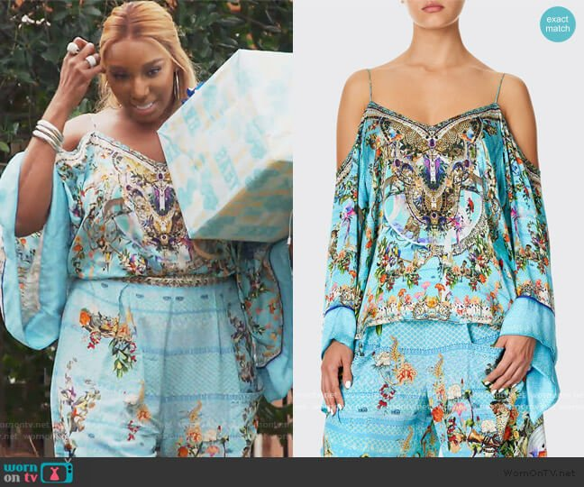 Cold-Shoulder Printed Flare-Sleeve Top and Pants by Camilla worn by Nene Leakes  on The Real Housewives of Atlanta