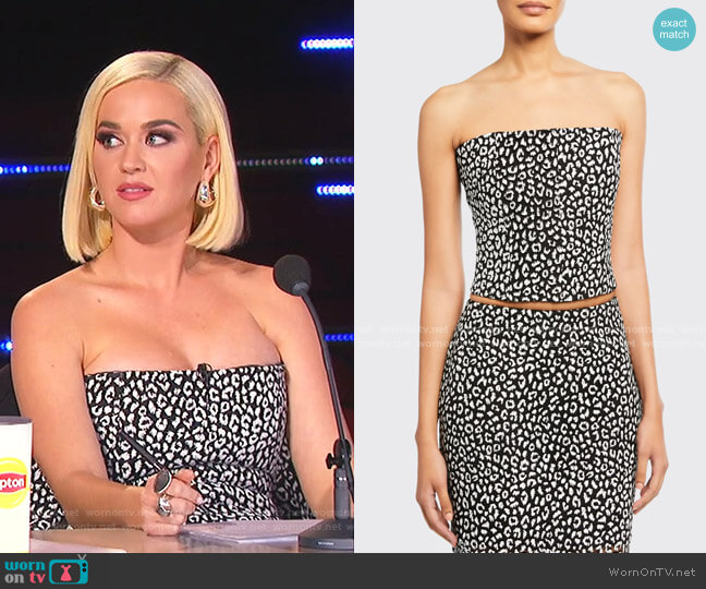 Leopard-Print Strapless Crop Top by Carmen March worn by Katy Perry  on American Idol