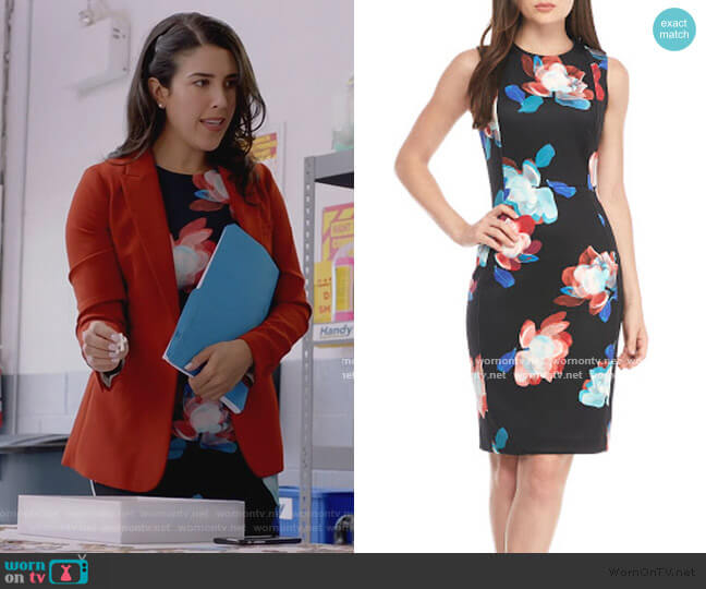 Black Floral Sheath Dress by Calvin Klein worn by Shannon Ross (Nicole Power) on Kims Convenience