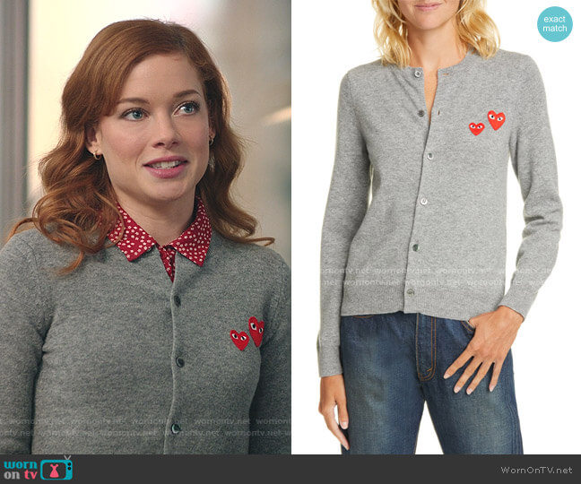 Heart Patch Wool Cardigan by Comme Des Garçons Play worn by Zoey Clarke (Jane Levy) on Zoeys Extraordinary Playlist