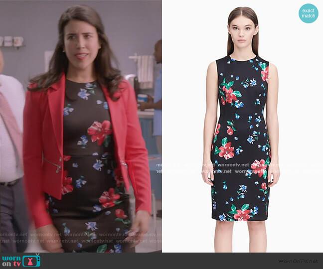 Floral Scuba Sheath Dress by Calvin Klein worn by Shannon Ross (Nicole Power) on Kims Convenience