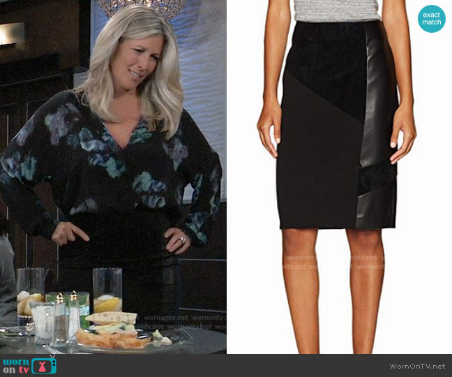 Calvin Klein Pencil Skirt With Suede and PU worn by Carly Corinthos (Laura Wright) on General Hospital