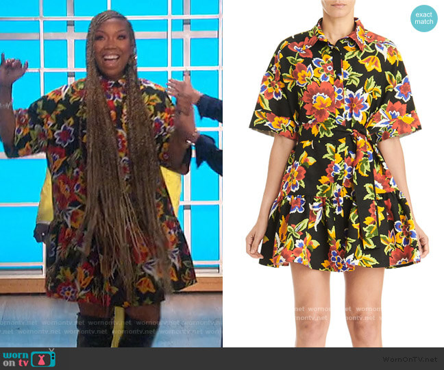 Floral Oversized Mini Shirtdress by Carolina Herrera worn by Brandy