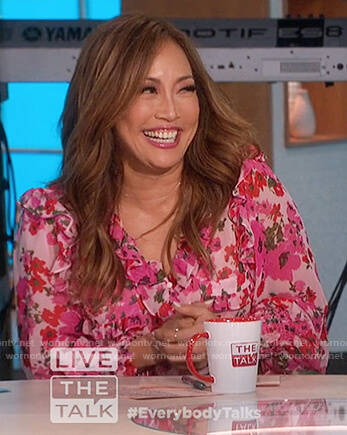 Carrie's pink floral ruffle dress on The Talk