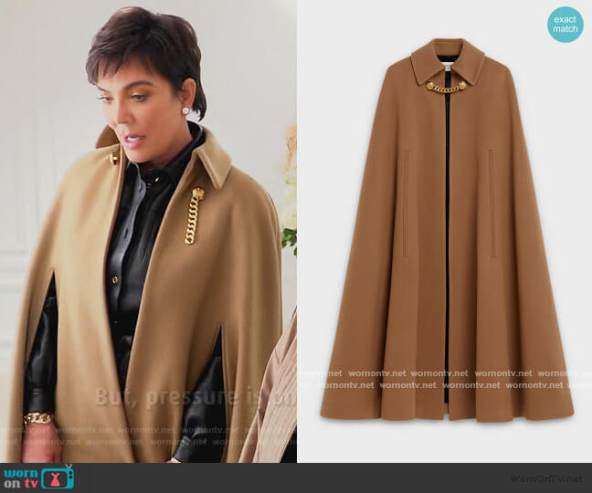 Cashmere Cape Coat by Celine worn by Kris Jenner  on Keeping Up with the Kardashians