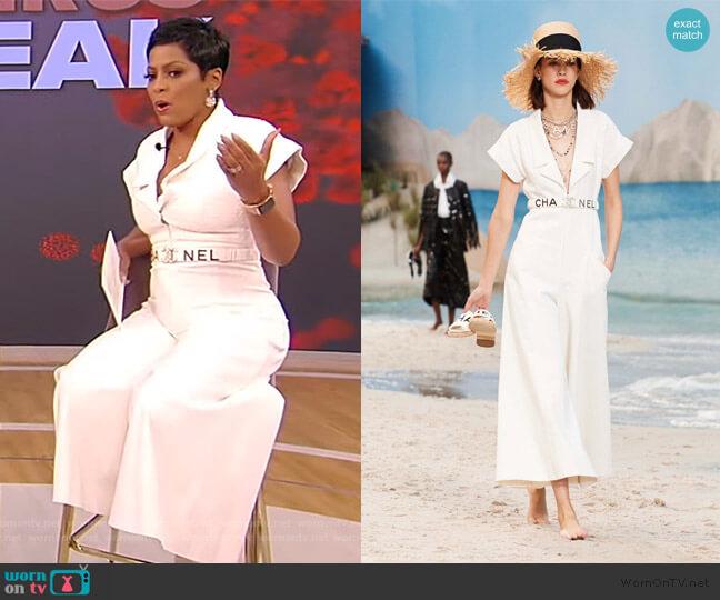 Jumpsuit and Belt Sprint Summer 2019 Collection by Chanel worn by Tamron Hall  on Tamron Hall Show