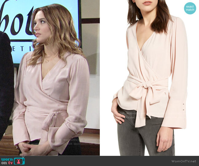 Chelsea28 Long Sleeve Wrap Blouse worn by Summer Newman (Hunter King) on The Young & the Restless