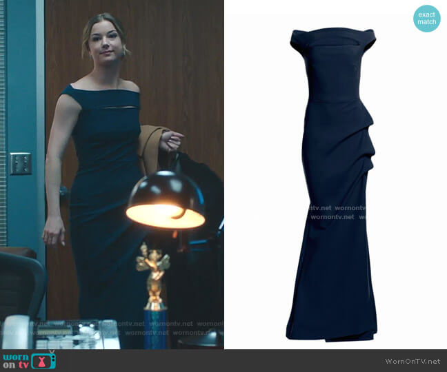 Melania Off-The-Shoulder Gown by Chiara Boni La Petite Robe worn by Nicolette Nevin (Emily VanCamp) on The Resident
