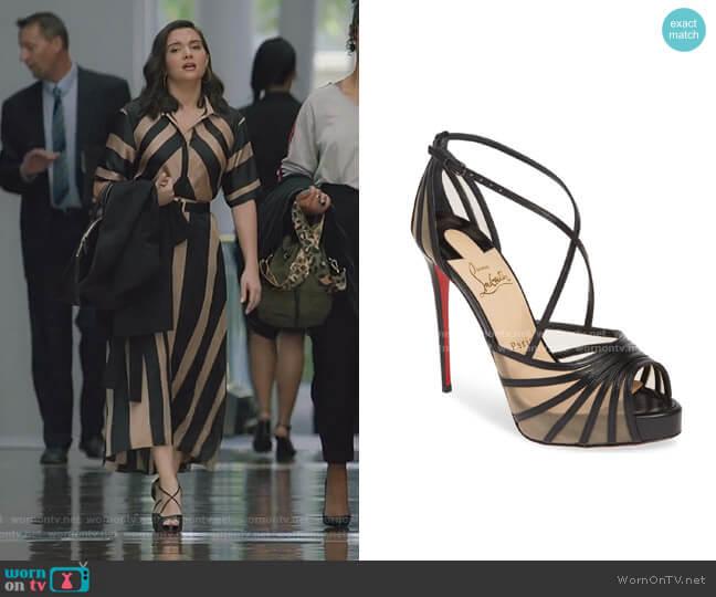 Filamenta Strappy Platform Sandal by Christian Louboutin worn by Jane Sloan (Katie Stevens) on The Bold Type