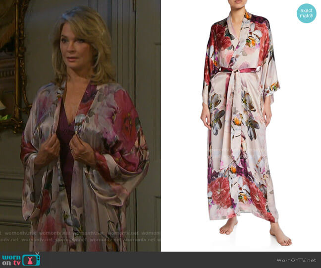 Camille Floral-Print Long Silk Robe by Christine Lingerie worn by Marlena Evans (Deidre Hall) on Days of our Lives