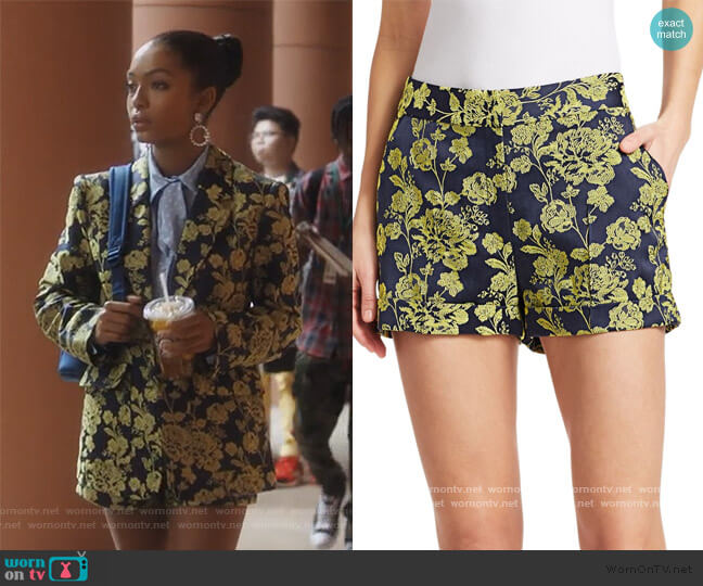 Elaine Brocade Shorts by Cinq a Sept worn by Zoey Johnson (Yara Shahidi) on Grown-ish