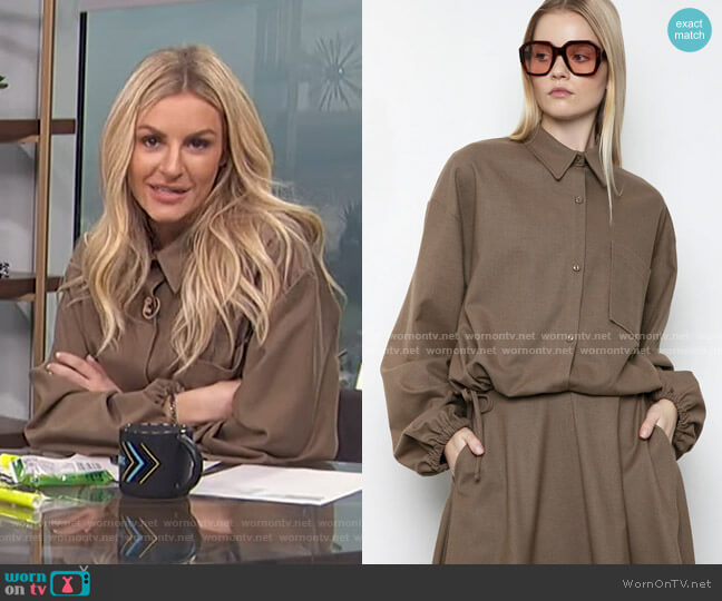Button-Up Drawstring Shirt by Frankie Shop worn by Morgan Stewart  on E! News