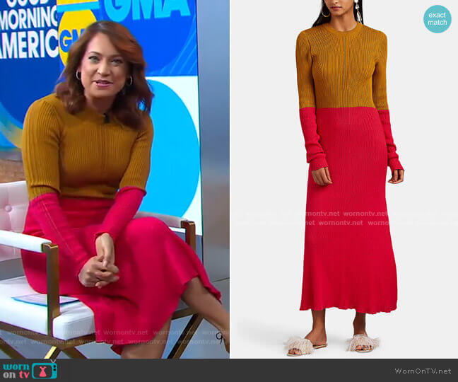 Colorblocked Cotton Sweaterdress by Cedric Charlier worn by Ginger Zee  on Good Morning America