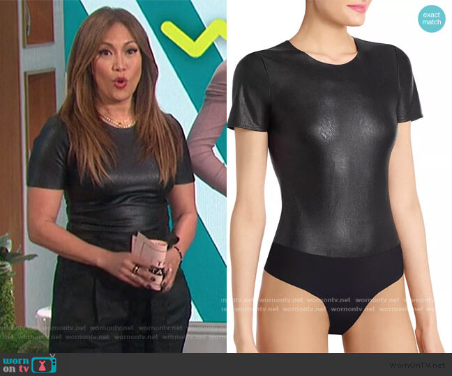 Faux Leather Tee Bodysuit by Commando worn by Carrie Inaba  on The Talk