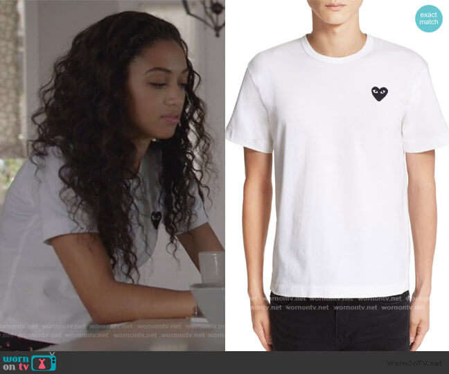 Logo Slim Fit Graphic T-Shirt by Comme des Garcons PLAY worn by Olivia Baker (Samantha Logan) on All American