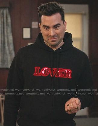David's black sequin Lover hoodie on Schitts Creek
